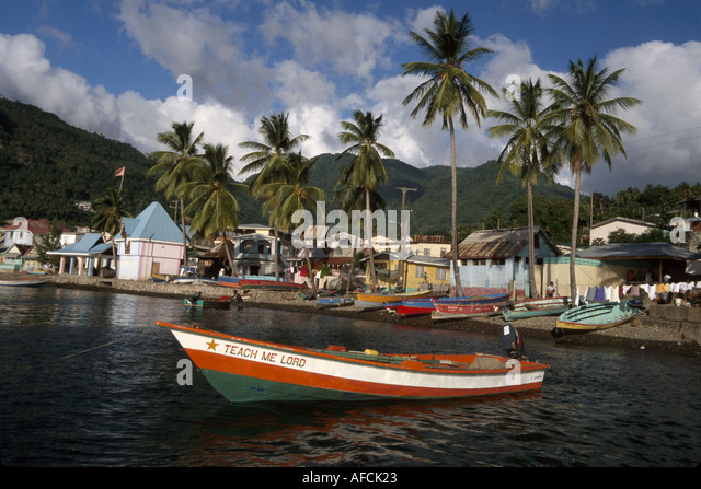 West Indies St. Lucia Soufriere Bay City of Soufriere Teach Me Lord fisherman's boat homes - Stock Image