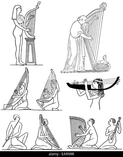 Musicians of antiquity, ancient Greek harps and flutes, Musiker in der Antike, Altgriechische Harfen und Flöten - Stock-Bilder