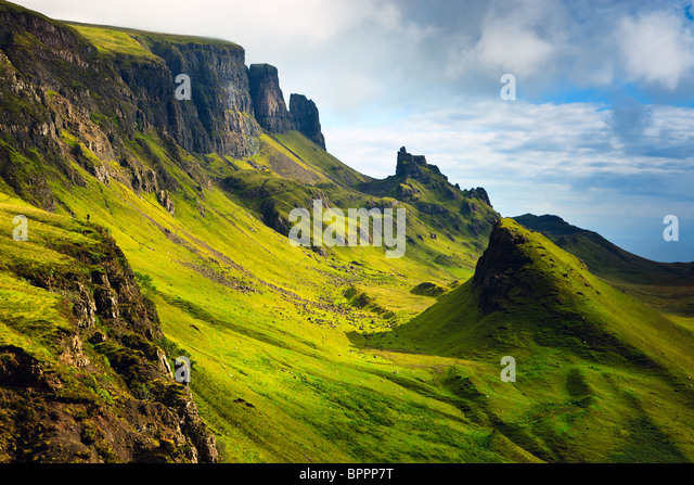 View on the Quiraing, Isle of Skye, Scotland - Stock Image