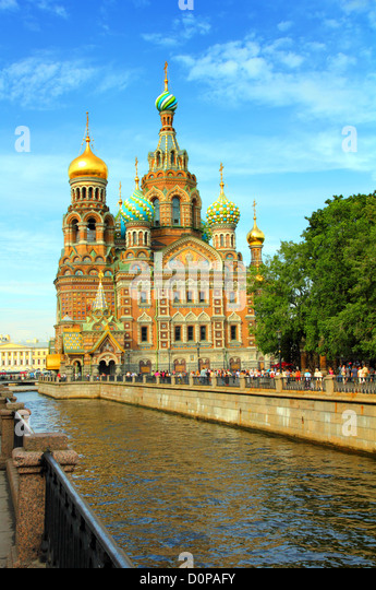 Christ the Savior Cathedral in St. Petersburg - Stock Image