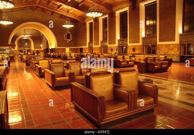 Interior Los Angeles Union Station Lobby 1940's decor - Stock Image