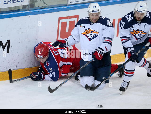 Moscow, Russia. 29th Jan, 2017. CSKA Moscow's Kirill Petrov, and Metallurg Magnitogorsk's Jan Kovar, and - Stock Image