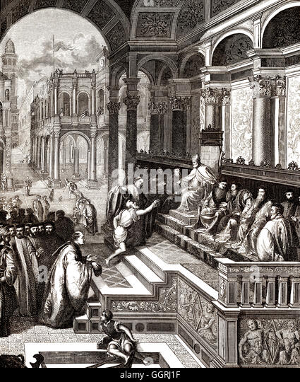 Legend of the ocean calmed by St. Mark, a fisherman puts the ring of St. Mark to Doge of Venice - Stock-Bilder