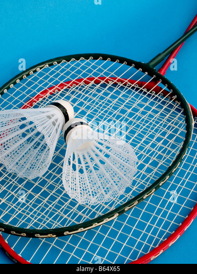 badminton rackets shuttlecocks - Stock Image