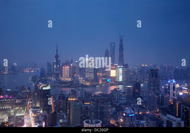 Cityscape of Shanghai at night, China - Stock Image