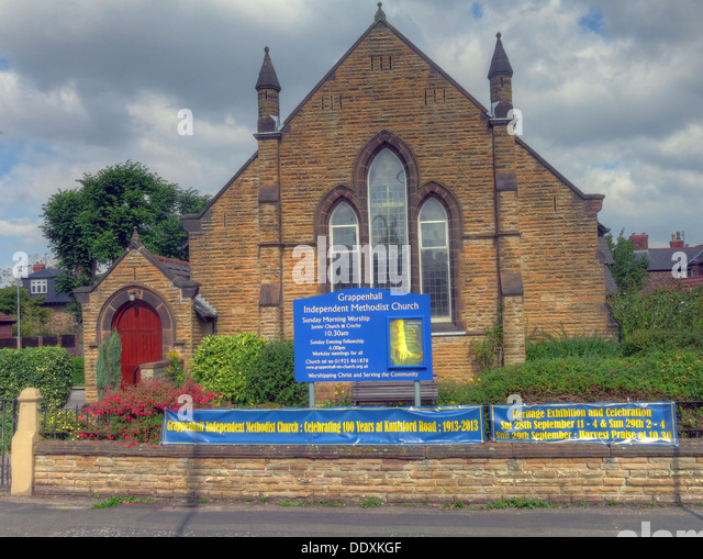 Grappenhall Independent Methodist Church, Knutsford Road, Grappenhall, Warrington, Cheshire, England, UK  WA4 2PL - Stock Image