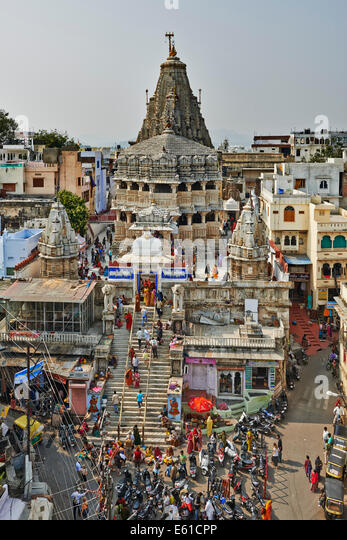 Jagdish Tempel from top of opposite building, Udaipur, Rajasthan, India - Stock-Bilder