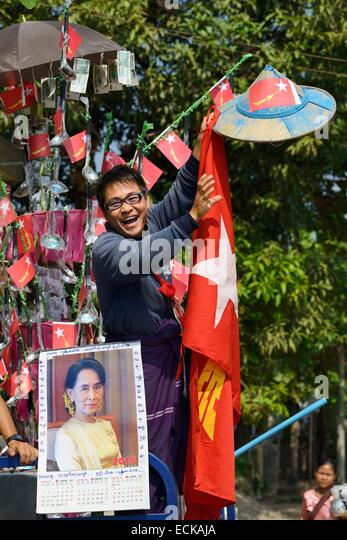 Myanmar (Burma), Kayin (Karen) State, Hpa-An, NLD (National League for Democracy) demonstration, Supporter of Aung - Stock-Bilder