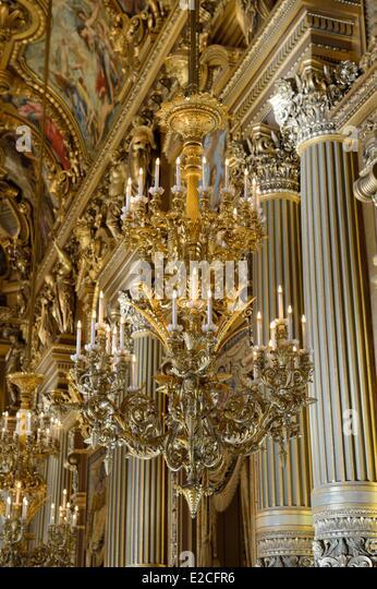 France, Paris, Garnier Opera, chandelier in the Grand Foyer - Stock Image