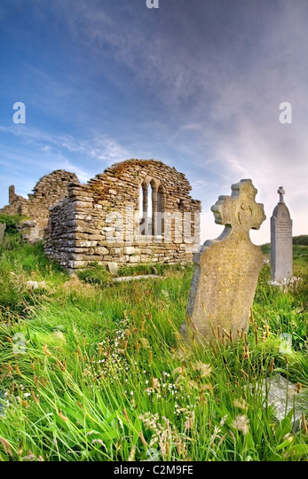 Medieval parish church of Hook dates to the 13th or 14th century. - Stock Image