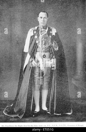 British officials ; his Excellency the right honourable sir John Anderson ; P.C. ; G.C.B. ; G.C.I.E. ; governor - Stock Image