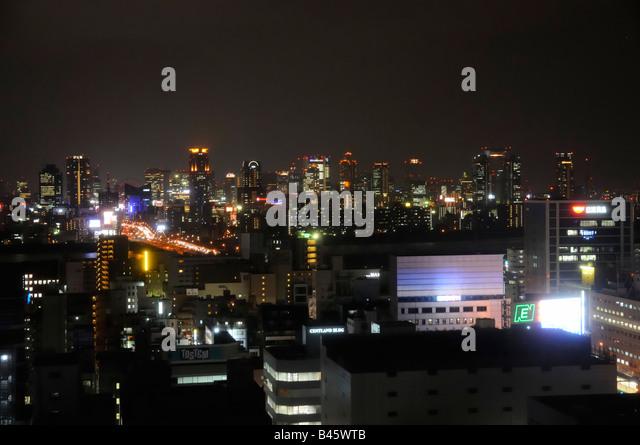Night View over Shin Osaka towards Yodogawa River and Osaka Downtown - Stock Image