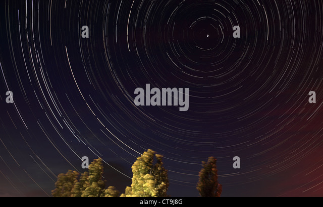 Night landscape, lonely tree in the night sky with moving stars - Stock Image