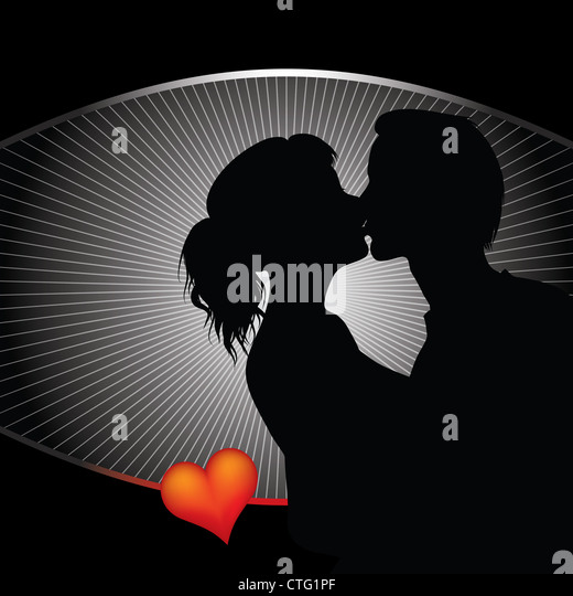couple silhouette with ray background - Stock Image