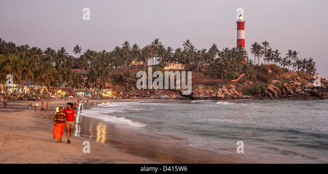 Kovallam beach, lighthouse, India Kerala - Stock Image