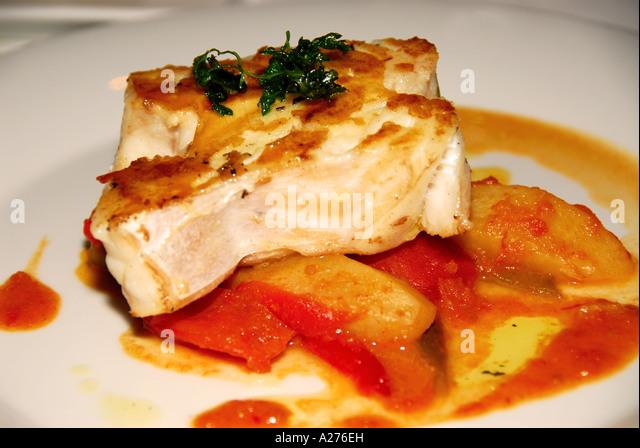 Chile chilean food cuisine fine dining sea bass - Stock Image