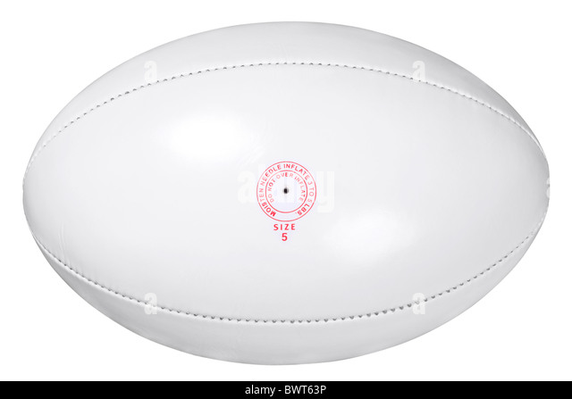 Photo of a white leather rugby ball isolated on white background with clipping path done using pen tool. - Stock Image