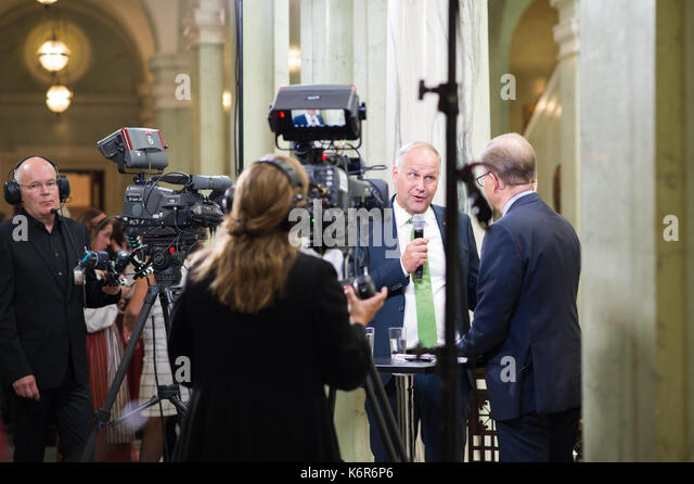 Stockholm, Sweden. 12th Sep, 2017. Opening of the Riksdag. Mingle and interviews after the session. Jonas Sjostedt - Stock Image
