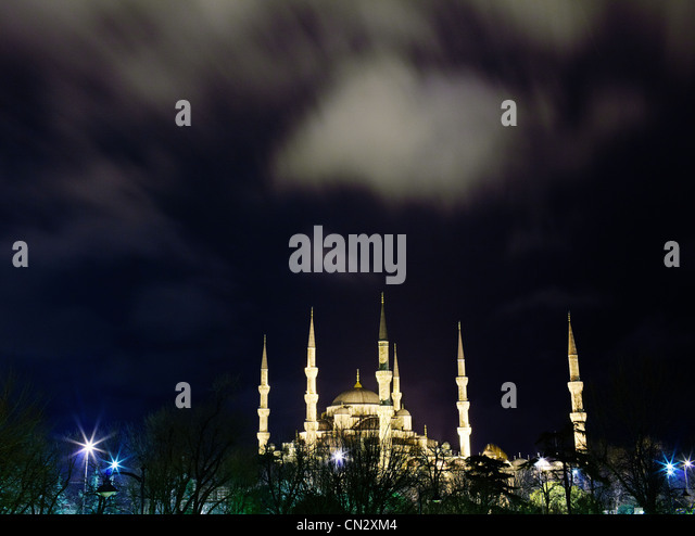 Sultan Ahmed mosque at night, Istanbul, Turkey - Stock Image