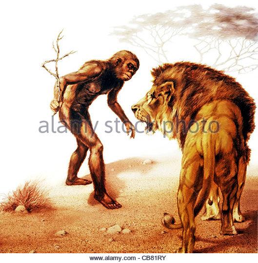 Neanderthal and Lwe - Stock-Bilder