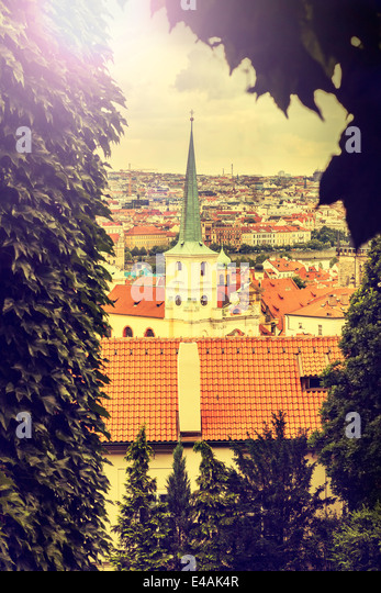 Prague, Czech Republic, vintage retro instagram style. - Stock Image