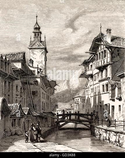 Lucerne, a city in central Switzerland, Europe, 18th century - Stock-Bilder