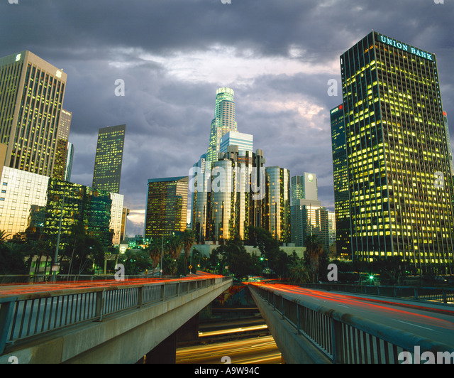 Downtown Los Angeles, California and the Harbor Freeway - Stock-Bilder