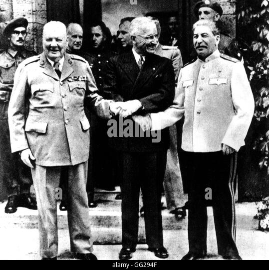 Potsdam Conference. Truman, Stalin and Churchill November 1945 Second World War - Stock Image