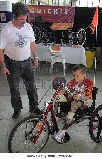 Miami Coconut Grove Florida Shake-a-Leg Miami No Barriers Festival disabled physical disability handicapped amputee - Stock Image