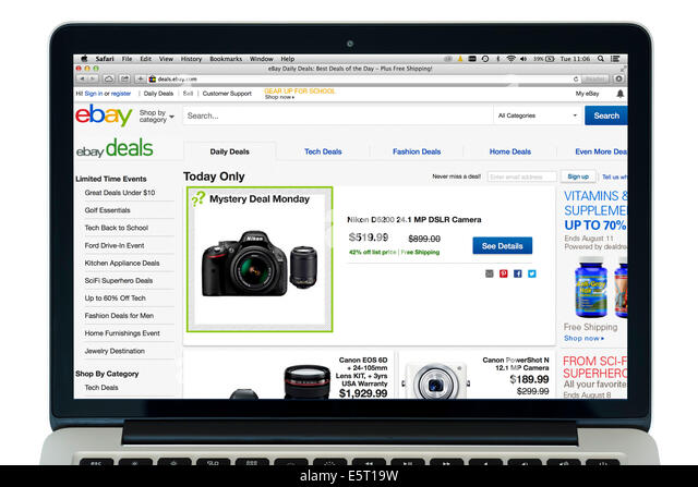 Ebay.com on a 13' Apple MacBook Pro Retina computer - Stock Image