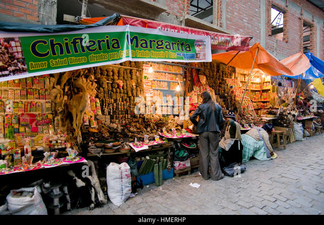 Photo of chiflera Margarita's stall in the Witches Market in La Paz, Bolivia, taken in 2009.. Some items are - Stock Image