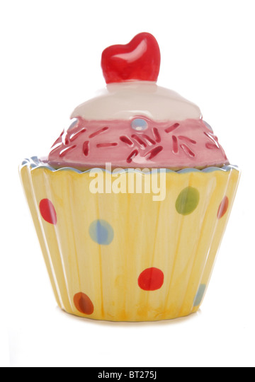 ceramic cupcake ornament studio cutout - Stock Image