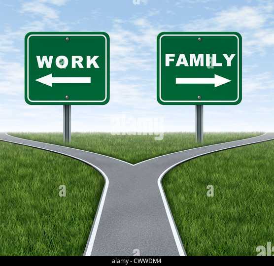 Work or family symbol representing the important life choice of raising a family and spending time at home or working - Stock Image