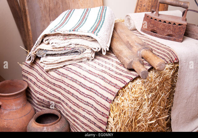 Vintage Household Items And Homespun Cloth Stock Image