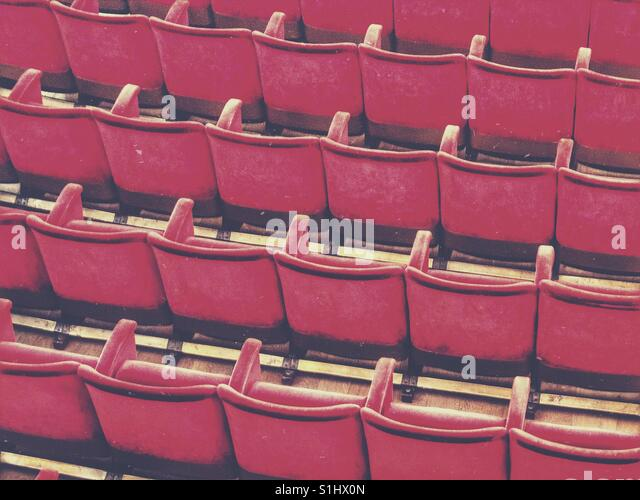 Rows of red seats at the theather - Stock Image