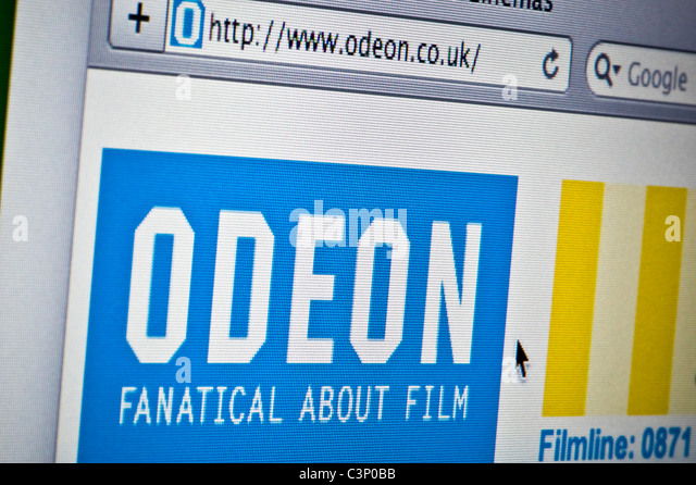 Close up of the Odeon logo as seen on its website. (Editorial use only: print, TV, e-book and editorial website). - Stock Image