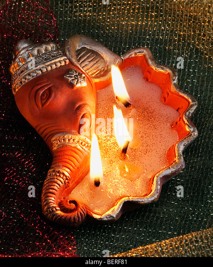 Decorative diya - Stock Image