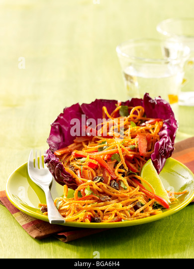 Carrot salad with red peppers - Stock Image