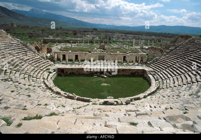 Turkey Aphrodisia ruins of Greco Roman city built to honor goddess Aphrodite theater site of gladiator spectacles - Stock Image