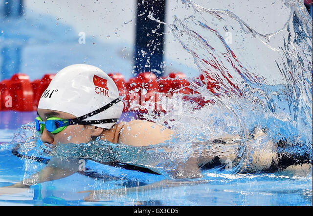 Rio De Janeiro, Brazil. 14th Sep, 2016. Cheng Jiao of China competes during the women's 50m breaststroke SB3 - Stock Image