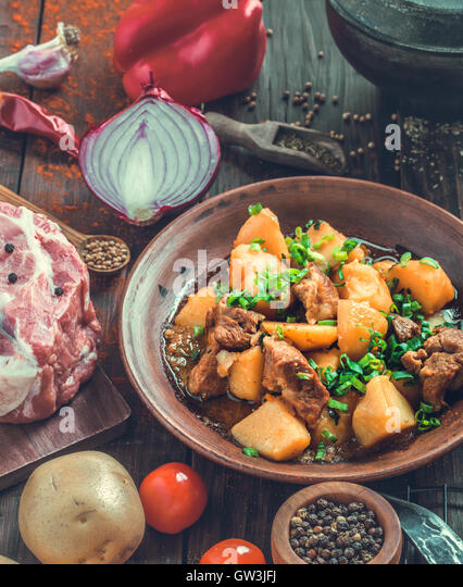 Pork and potato stew rustic style - Stock Image