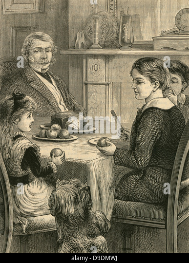 Family tea time: pet dog begging for a treat. Engraving, 1882 - Stock Image