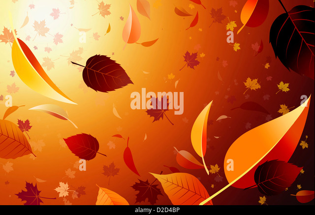 Autumn leaves computer artwork - Stock Image
