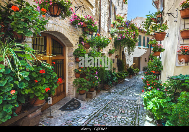 Spello and its nooks and streets of the beautiful Italian towns in Italy. - Stock Image
