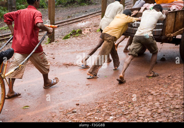 Use of hand cart on hill station ; Matheran ; Maharashtra ; India - Stock Image