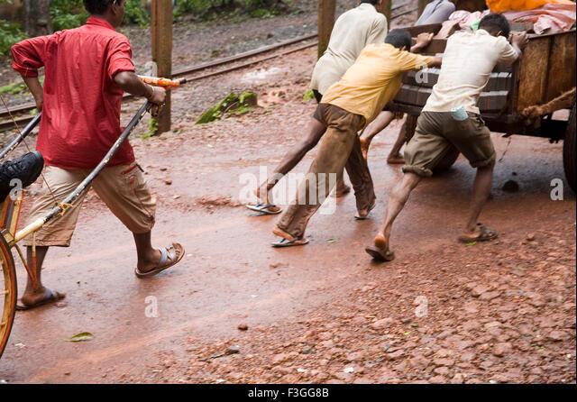 Use of hand cart on hill station ; Matheran ; Maharashtra ; India - Stock Image