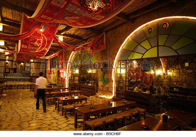 kan zaman restaurant city of amman jordan editorial use only - Stock Image