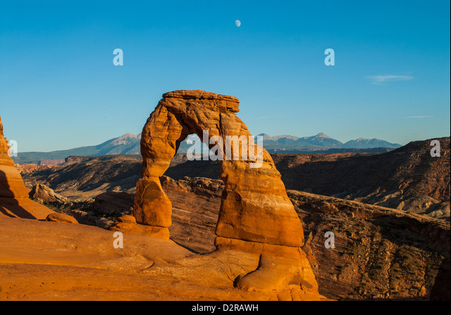 View of Delicate Arch, Arches National Park, Utah, United States of America, North America - Stock Image