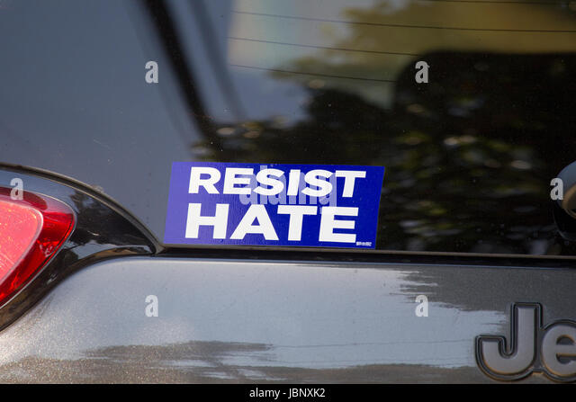 Resist Hate Car Sticker - Stock Image