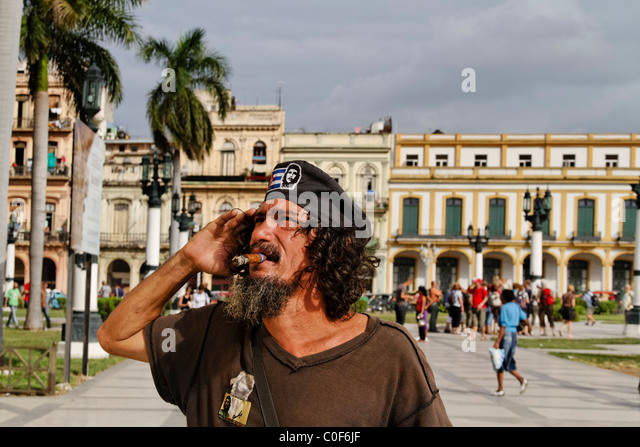 Che Guevara Double posing in Havanna Center near Capitol, Cuba - Stock Image